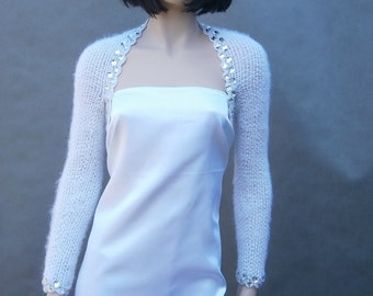 Lidia - white (Not only) wedding bolero, size - S, zircons