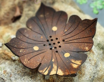 Coconut Shell Leaf Soap Dish, Rustic Soap Dish, Leaf Soap Dish, Natural Soap Dish, Coconut Soap Holder, Soap Holder, Wooden Soap dish, Soap