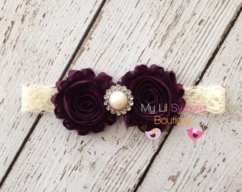Eggplant headband, Plum ivory Headband- M2M plum romper Baby Girl Headband - Toddler Headband - Adult Headband