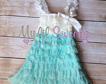 Ivory spa aqua blue mint Lace dress, baby girl outfit, infant outfit, special occasion dress, toddler dress, girls dress,