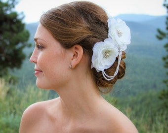 Ivory Bridal Fascinator/Hair Clip With Detachable Vintage Earrings, Bridal Hair Flower,  Bridal Hair Piece