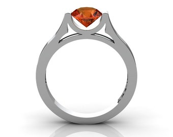 14K White Gold Elegant and Modern Wedding or Engagement Ring for Women with a Orange Sapphire Center Stone R665-14KWGOS