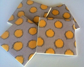 Yellow Spotted Gray Ceramic Coasters, Yellow Coasters, Drink Holder, Tile Coasters, Grey Coasters