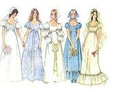 70s Wedding Dress Pattern Simplicity 9825 Bust 31.5 Peasant Dress Empire Waist Low Round Neckline Bridesmaids Dress Scarf USED
