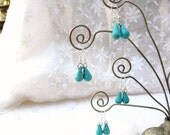 Turquoise Drops Silver earrings / LISTING for 1 pair / women's jewelry / jewelry / teen jewelry / pierced / wedding / bridesmaids / women