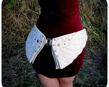 Burning Man Utility Belt ~ Angel Wings Hip Belt w /Pockets ~ Cream White Canvas Fabric ~ Vegan ~ Divine Goddess ~ Talismana Designs