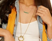 Long  Turquoise Horseshoe Pendant - Tribal Brass & Blue Green Turquoise Necklace Antiqued