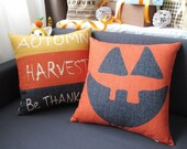 "Handemade Decorative Pillow cover Halloween pumpkins present Cool personality Cushion Cover 18""/thanks giving pillowcase"