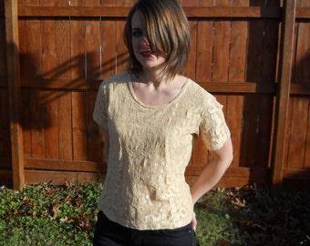 Vintage 1990's gold lace t-shirt.