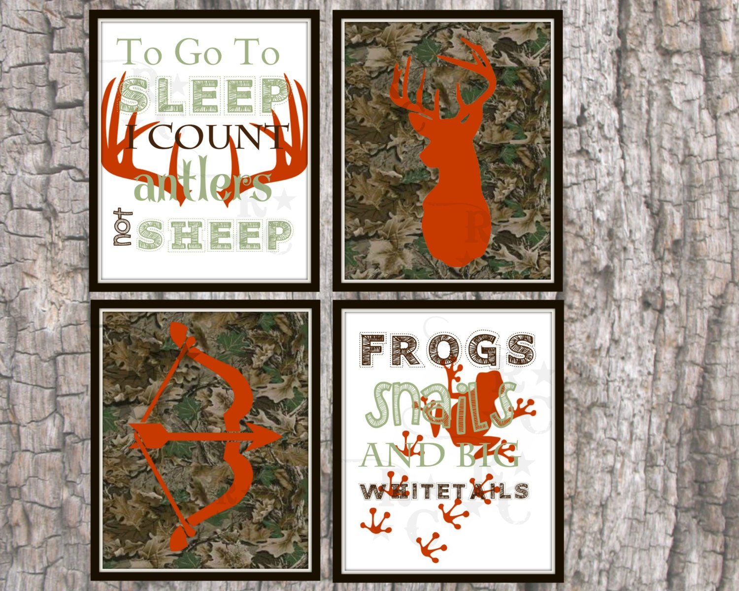 Boys kids hunting camo nursery bedroom wall prints wall art for Camo kids bedroom ideas