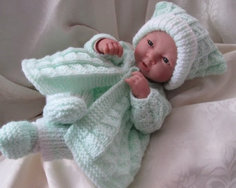 """Hand knitted dolls clothes for 15"""" La Newborn Berenguer doll or simliar, made to order set."""