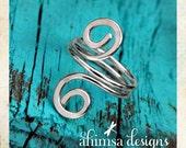 Recycled Sterling Silver Double Fibonacci Spiral Sacred Spiritual Ring: Yoga Jewelry Vegan Jewelry Shanti Ahimsa Mantra Meditation LGBT Zen