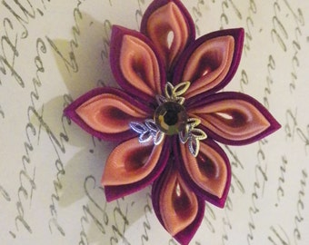 Orange and Maroon Kanzashi flower Brooch
