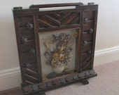 Vintage 1930's Art Deco Dark Wood Fire Screen - Glass Window Dried Flowers