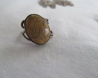 Earths Sandstorm Stone Agate 70s Sterling Ring Lovely Grain Earth Child Crazy Lace Agate Ring sz 5.5