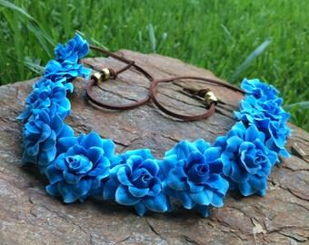 EDC blue roses flower halo