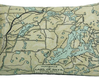 Lake of Bays Huntsville Canada Vintage Map Pillow - FREE SHIPPING