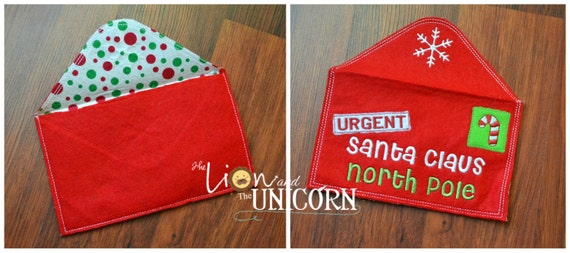 "Santa Letter Envelope - santa letter holder - can be personalized RED 7""x4.5"" closed"