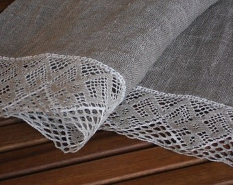 Table runner rustic natural gray or beige sand washed linen and lace organic flax linen runner