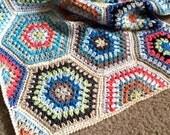 Pattern - BabyLove Brand Painted Hexagons Blanket - Crochet Pattern/Tutorial -  throw