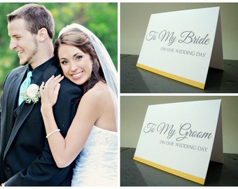 Bride and Groom Gift - To My Bride & To My Groom on our Wedding Day Card - Gift from the Groom and Bride