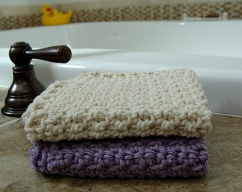 2 Handmade Washcloths 100% Cotton Ecru & Lavender
