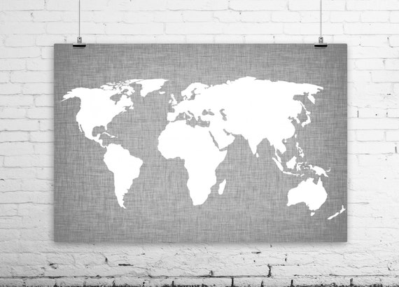 World map linen art print modern wall art gray by bysamantha for Black and white world map wall mural