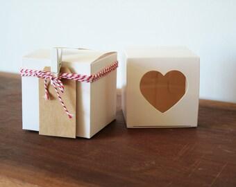 10 White Box / Heart Box / Wedding Favour (Favor) / Gift Box 76x76x76mm