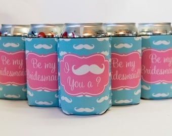 I mustache you • be my bridesmaid • custom can coolers : choose your designs