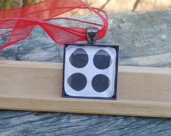 Classic Glass Pendant, Black Dots on White