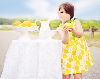Girls  Lemons Dress, cool cotton lemonade stand dress