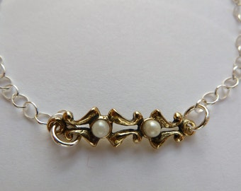 Delicate Sterling Silver Bracelet with Bronze Filagree Link with Two Pearls and Sterling Heart Dangle