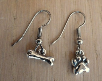Sterling Silver Small Dog Paw Print Pawprint and Bone Earrings