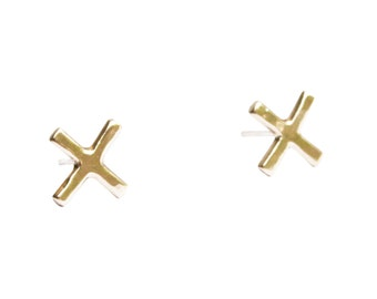 Brass X Stud Earrings, X Earrings, Simple Stud Earrings, Ear Studs, Small Earring, Minimal Gold Earrings, Simple Gold Earrings