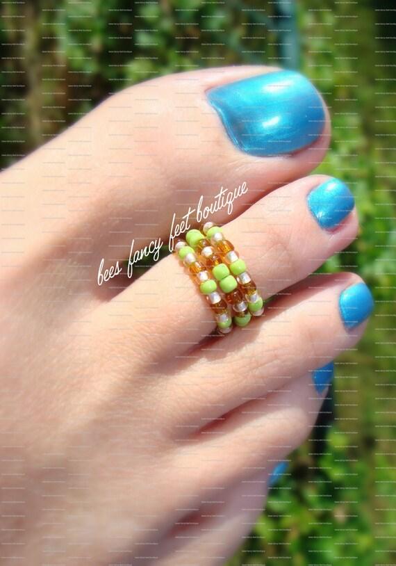 Stacking Toe Ring - Caramel Apple Pattern - Stretch Bead Toe Ring