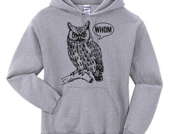 Hoodie Men Owl Shirt Grammar Shirt Who Whom Hooded Sweatshirt English Teacher Gift for Teachers Editor Cool Funny Hoodie Typography Hoodie