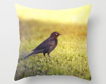 Bird Pillow - Sunset Pillow - Bird Photography - Animal Pillow - Goth Pillow - Black Bird Photo Pillow - 16x16 18x18 20x20 Pillow Cover