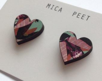 Patterned Heart Sud Earrings - Love Heart Earrings Love Heart Jewellery laser cut Wooden Hearts