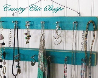 """Jewelry Hanger/Belt/Scarf/Necktie Organizer, 13 Pegs, 16"""" Long, 2 Tiers, Closet or Dorm Organizer. Available in 7 Colors"""