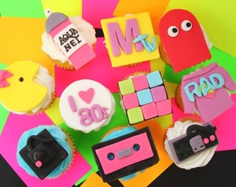 Fondant Cupcake Toppers 80's 12 qty for 80 s party, 30th birthday,  nintendo controller, I love 80's, boombox, mix tape etc., YOU PICK