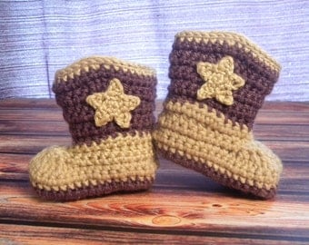 Made-to-Order Crocheted Newborn Infant Baby Boy or Girl Cowboy Boots Photography Prop