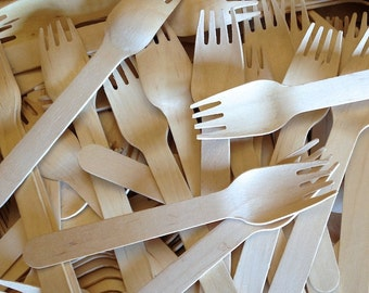 25 WOOD FORKS - Wooden Fork - Eco Friendly - Wedding Decor - Party Supplies
