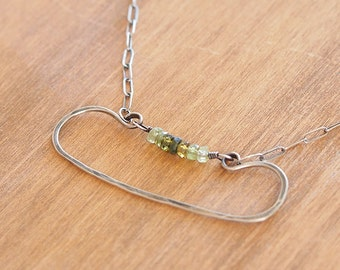 SALE - Ombre green tourmaline and silver necklace suspended in hand hammered wire - Kidney Necklace