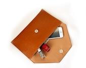 Camel leather  envelope clutch bag