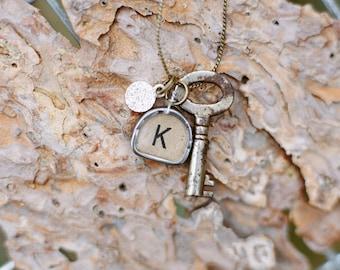 Vintage Typewriter Key Necklace with Swarovski Charm & Trunk Key (one letter)