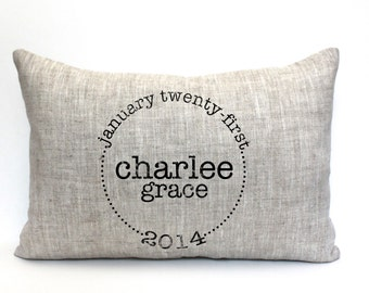 "baby gift, baby pillow, child's name pillow, personalized pillow, birthday pillow, christmas gift- ""The Charlee"""