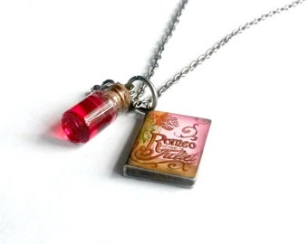 Romeo and Juliet Necklace Miniature Book with poison vial Handmade Gift
