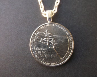 United States Five Cent Lewis and Clark  Coin Necklace - Coin Necklace - US Five Cent Lewis and Clark Coin Pendant