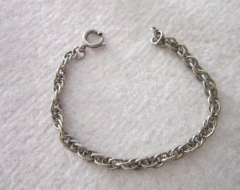 Vintage Steel Chain Charm Bracelet