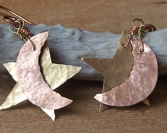 Moon and Star Earrings, Hammered Copper and Brass